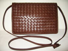 BOTTEGA VENETA RICH BROWN INTRECIATTO LAMBSKIN CLUTCH SHOULDER XBODY BAG EXCLNT!