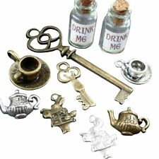 DRAWER Lot Steampunk key Alice in Wonderland necklace charm tea pot cup rabit 98