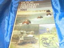 Motor Kalender der DDR  1981 , Militärverlag 1.Auflage , u.a. NVA , Motorsport