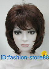 NEW lady Short Curly Brown red mix Cosplay party ladies wigs + wig cap