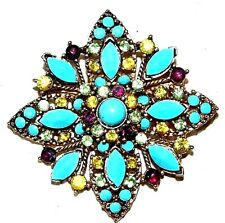 VINTAGE ANTIQUE GOLD TONE CRYSTAL WITH TURQUOISE COLOR LUCITE PIN BROOCH