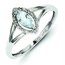 .925 Sterling Silver Genuine Aquamarine & 0.03ct Diamond Marquise Ring Size 9