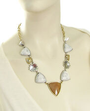 NWT LUCKY BRAND 'Adorn You' Sunstone Flower White Stone Silver-Tone Necklace