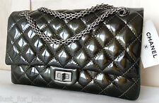 CHANEL Classic 2.55 Reissue Dark Green Patent Jewelry Chain Double Flap Bag NWT