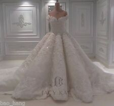 Luxury Shiny Stones Wedding Dress Off Shoulder Bridal Ball Gowns Cathedral Train