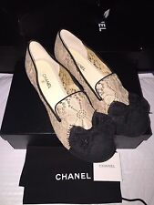 $1145 NIB New CHANEL Nude Black Lace Loafer Rare CC Logo Flats Shoes 40 9 9.5