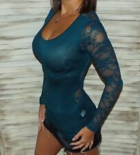 Sexy Lace Back Scoop Neck Cleavage Low Cut L/S Tissue Shirt Top Emerald Small