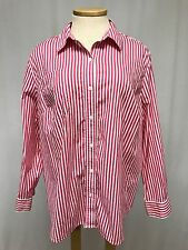 womens hot pink white stripe JONES NEW YORK shirt top blouse button front 3X