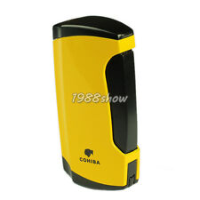 New COHIBA Yellow Metal Wind-Proof 2 Torch Jet Flame Cigar Cigarette Lighter