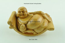 Smiling Buddha On Rocking Chair, Handmade Wooden Decorative Figure, Brown, H050