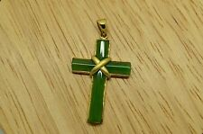 925 STERLING SILVER GOLD TONE RELIGIOUS CROSS GREEN JADE PENDANT CHARM X17412