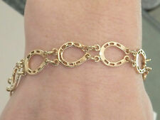 Lucky Horse Shoe 9ct Gold Yellow Bracelet 8 inch Long . Hallmarked. Item  A5430