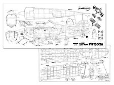 "Pitts S-2a Full Size Model Airplane Kit Printed Plans 69"" wing Span"