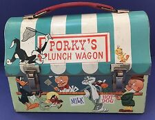 VINTAGE 1959 PORKY'S LUNCH WAGON LUNCH BOX NO THERMOS- FREE SHIPPING