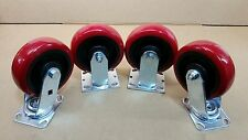 "6""x 2"" Heavy Duty Red Polyurethane Wheel  Caster Set of 4 ( 900 LBS/EA-CAPACITY)"