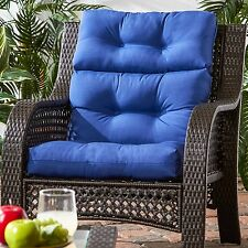 "Patio Chair Cushions Set Of 4 Deep Seat Furniture Cushions Blue 44""x22"" Outdoor"