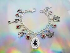 ALICE IN WONDERLAND SILHOUETTE SILVER LOCKET & CHARMS BRACELET WITH GEM HEARTS
