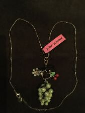 Betsey Johnson Grapes Heart Daisy Cherry Necklace Pendant New With Tags