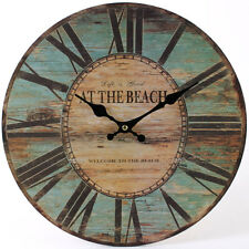 """NEW OLD TOWN WALL CLOCK HANGING 34CM 13.4"""" RUST EFFECT MULTICOLOUR CL_15616"""