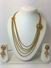 New Necklace Earring Set Gold Polki Jewellery Indian Bridal Bollywood Jewelry