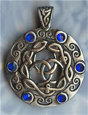 BLUE CELTIC SHIELD PEWTER PENDANT STAINLESS STEEL BALL CHAIN NECKLACE-2.4MM 30""