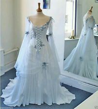 Celtic Wedding Dresses White Pale Blue Medieval Bridal Gowns Corset Bell Sleeve