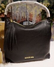 NWT MICHAEL KORS BEDFORD Large Tassel TZ Pebbled Leather Shoulder Bag BLACK $328