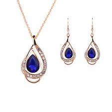 Women Rhinestone Crystal Pendant Necklace Gold Plated Chain Earrings Jewelry Set