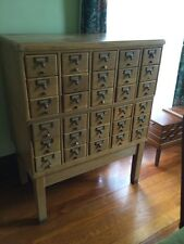 Vintage Library Card 30 Drawer Index Cabinet/ 2 Piece/15 Drawers On Each