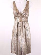 Etro - metallic gold lame sleeveless surplice dress - size 38 / 4