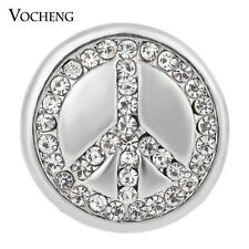 Vocheng Snap Charms Studded Bling Crystal Peace Sign 18mm Button Jewelry Vn-1338