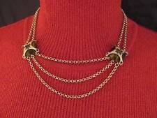 Monet Vintage Necklace Choker 2 Strand Brown Lucite 18 inch Gold Chain 71d