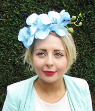 Light Blue Orchid Flower Fascinator Statement Headpiece Races Vtg Headband 1593