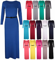 Womens New Long Sleeves Ladies Stretch Belted Plain Jersey Full Long Maxi Dress