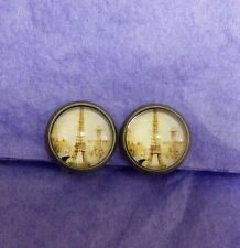 Retro vintage paris eiffel tower shabby chic CLIP-ON quirky kitsch earrings