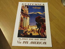 Lovely REPRO VINTAGE Pan American Airlines CARD a4 Guatemala poster di viaggio