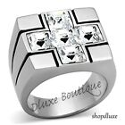 MEN'S PRINCESS CUT CUBIC ZIRCONIA STAINLESS STEEL HOLY CROSS RING SIZE 8-13
