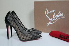 sz 5 / 35 Christian Louboutin Follies Black Lace Tulle Pointed Toe Pump Shoes