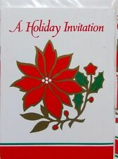 32 Christmas Poinsettia Flower Party Invitations & Envelopes Green Red