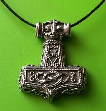 Small Viking Mjölnir Thor's Hammer Pewter Pendant Necklace - Viking God