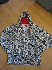 BURTON Mens Snowboard White Cotton Hoodie Sweatshirt Clash patterns, Size XL