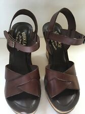 Women's KORK EASE Shannon Brown Leather High Heel Sandals w/Gold Cork Size 6M