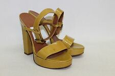LANVIN Ladies Mustard Patent Leather Open Toe Strappy High Heel Shoes UK5 EU38