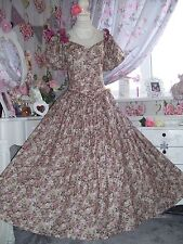 Vintage 80's pink floral tea length bow wedding bridesmaid dress size 14