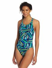 NEW Speedo Size 4 30 ATHLETIC Swimsuit RACING Green Blue White $82 Retail
