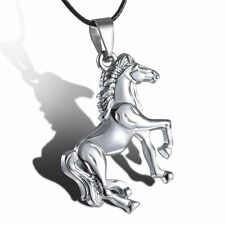 Stainless Steel Horse New Fahion Silver Unisex Pendant Leather Necklace Jewelry