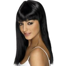 Womens Girls Black Glamourama Wig Long Straight Fringe Katy Perry Colour Witch