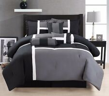 7 Piece Oversize Grey Black White Color Block Comforter set Queen Size Bedding