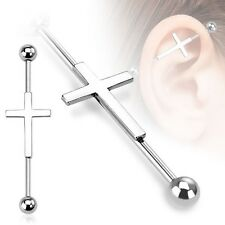 CROSS Stainless Steel Industrial Bar Scaffold Ear Barbell Rings PIERCING JEWELRY