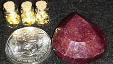 1 oz .999 silver round. + 3 JARS OF. 999 24K GOLD LEAF FLAKES + A NATURAL RUBY!